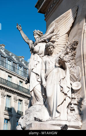 Side view on the sculpture on the Facade of Palais Garnier Opera House in Paris - Stock Photo