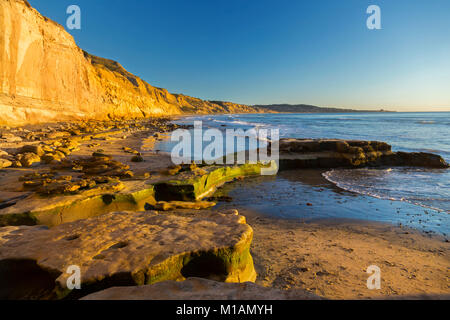 Scenic Panoramic Landscape of Distant La Jolla Shores and Pacific Ocean from Torrey Pines State Beach north of San - Stock Photo