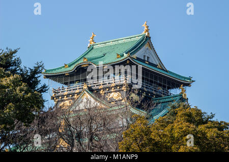 (27, January, 2018, Osaka, Japan) A main tower of Osaka Castle (Osaka-JO) - Stock Photo