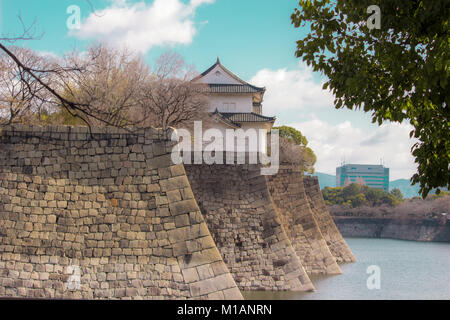 (27 January 2018, Osaka, Japan) Rock walls and moat of Osaka Castle - Stock Photo