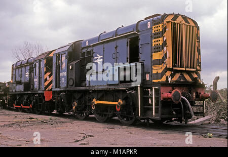 Two Class 08 shunting locomotives at Bletchley Railway Depot in England - Stock Photo