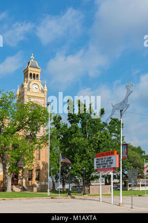 Texas, Hill Country, Llano County Courthouse built 1893 in the Romanesque Revival Style - Stock Photo
