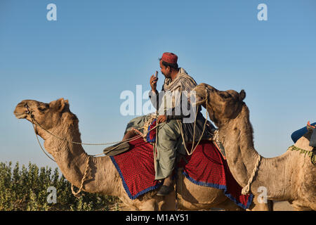 Modern day camel trekking in the Thar Desert, Rajasthan, India - Stock Photo