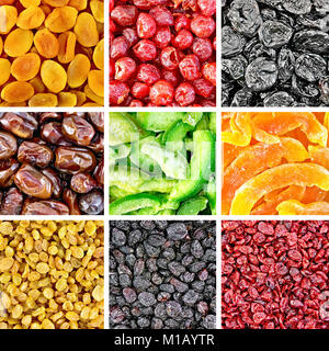 Set of textures of dried fruits and berries of apricot, cherry, prune, dates, pomelo, melon, black and white raisins, - Stock Photo