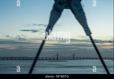 M48 Severn Bridge. The first of the two crossings has seen the VAT reduced on the toll price so far. - Stock Photo