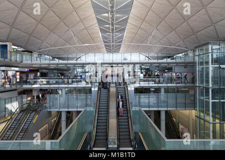 The departure terminal at Chek Lap Kok International Airport in Hong Kong, China. Thursday January 11th 2018 - Stock Photo