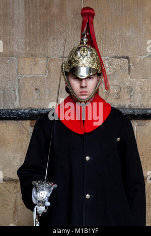A soldier from the Household Cavalry stands Gurad at Horseguards in Whitehall, London, UK. Friday January 5th 2018 - Stock Photo