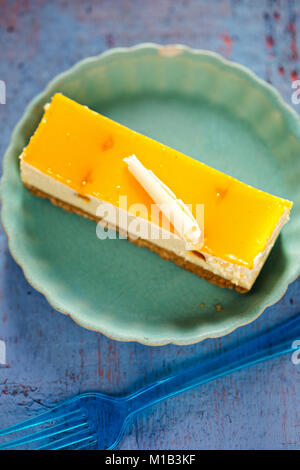 Peach and apricot cheesecake - Stock Photo