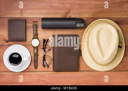 Men's casual outfits with man clothing and accessories on wooden background, - Stock Photo