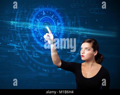 Tech woman pressing high technology control panel screen concept - Stock Photo