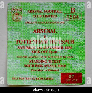 ticket for arsenal versus tottenham hotspur sep 1st 1990 barclays division one - Stock Photo