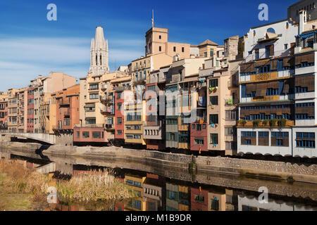Houses on the Onyar in Girona, Catalonia. - Stock Photo