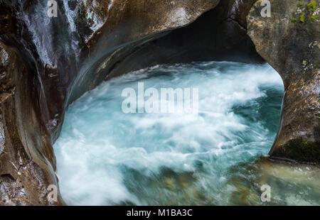 Fast flowing mountain creek in National Park Hohe Tauern, Wildgerlostal, Austria. - Stock Photo