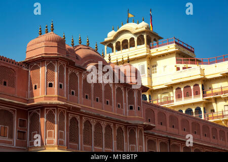 City Palace Jaipur Rajasthan - Chandra Mahal museum architecture structure - Stock Photo