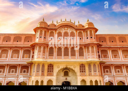 City Palace Jaipur Rajasthan - A historic royal palace complex entrance to the Chandra Mahal museum with moody sunset - Stock Photo