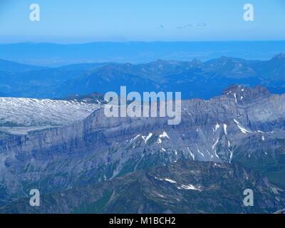 Alpine mountains range landscape seen from Aiguille du Midi - Stock Photo