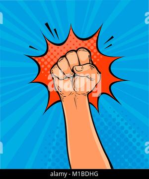 Raised up clenched fist drawn in pop art retro comic style. Cartoon vector illustration - Stock Photo