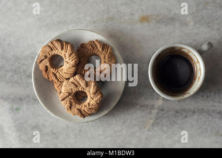 Traditional Turkish Coffee with mini cookies, from above - Stock Photo
