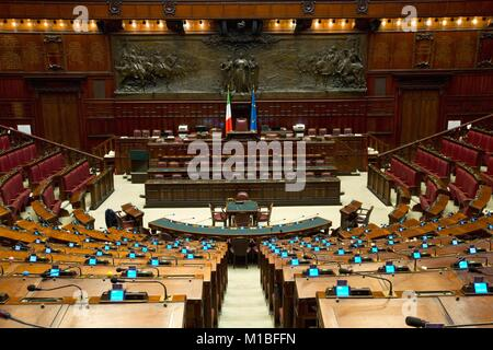 Montecitorio Palace, the empity Chamber of Deputies, Rome, Italy    Credit © Remo Casilli/Sintesi/Alamy Stock Photo - Stock Photo
