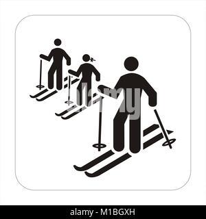 family skiing icon - Stock Photo