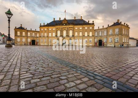 COPENHAGEN, DENMARAK- February 02, 2017: Frederick VIII's Palace in Amalienborg. Home of the Danish royal family. - Stock Photo