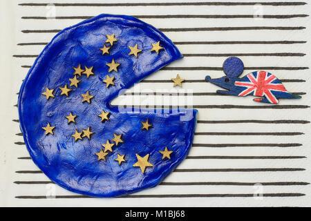 British mouse ate a piece of European pizza concept  disintegration European Union - Stock Photo