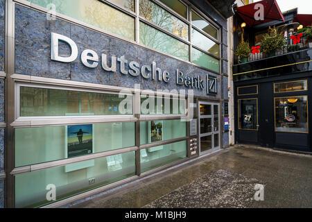 BERLIN - DECEMBER 21, 2017: Deutsche Bank office in the Kurfurstendamm. Deutsche Bank AG is a German global banking - Stock Photo
