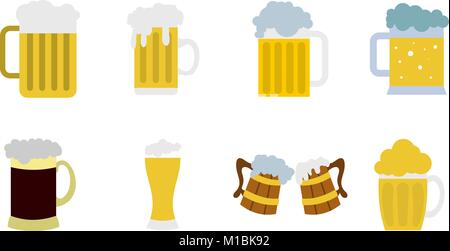 Glass of beer icon set, flat style - Stock Photo