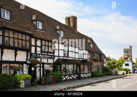 Ye Maydes Restaurant in a black and white timbered Tudor building on the main street through Biddenden, Kent, England, - Stock Photo