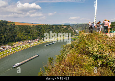 Loreley rock, Rheingau, UNESCO World Heritage Upper Middle Rhine Valley, lookout point on the rock, river Rhine, - Stock Photo