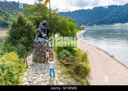 Loreley figure, Rheingau, UNESCO World Heritage Upper Middle Rhine Valley, lookout point on the rock, near St. Goar, - Stock Photo