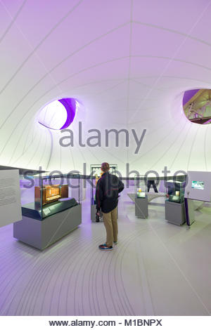 Young man looking at exhibit on Risk inside the Mathematics-The Winton Gallery, Science Museum, Kensington and Chelsea, - Stock Photo