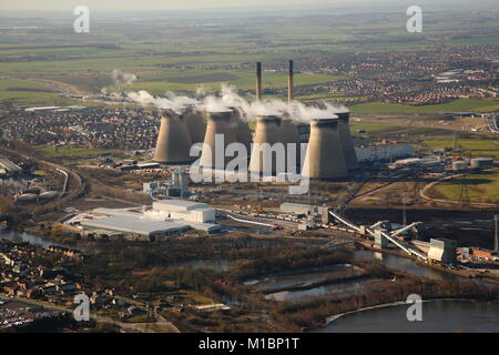 Ferrybridge Cooling Towers From The Air which is scheduled for demolition in 2019. - Stock Photo