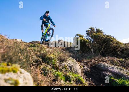 Jake Marsh Enduro Mountain Biking bike at Chapel Carn Brea, Cornwall, UK.