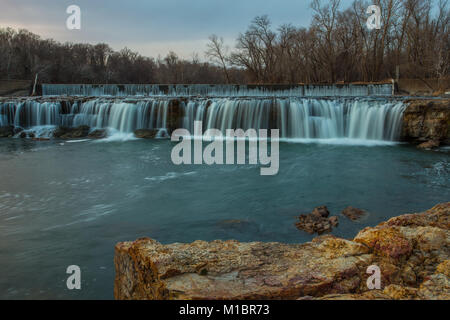 Grand Falls waterfall in Joplin, Missouri - Stock Photo
