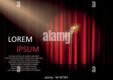 Theater stage with concert microphone and spotlight. Poster for concert, party, theater, circus or cinema background. - Stock Photo