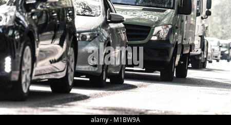 Road traffic congestion on Victoria Embankment, London, England, UK - Stock Photo