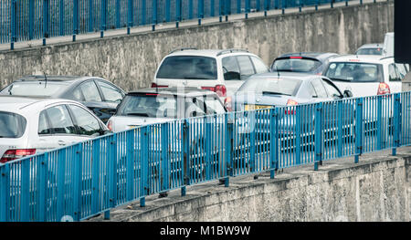 Road traffic congestion at Blackwall Tunnel in London - Stock Photo