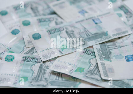 Money in Russia. Banknotes one thousand rubles. - Stock Photo