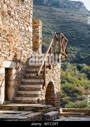 Old house of village Vathia in the Mani region, Peloponnese, Greece - Stock Photo