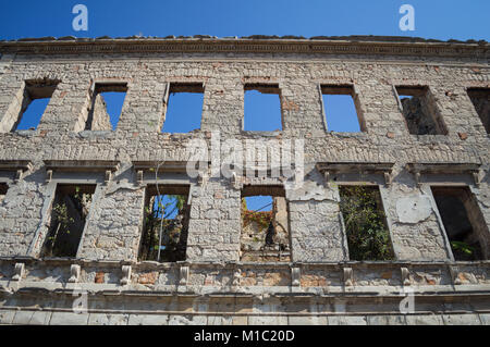 Ruin of Old Abandoned House in Decay, Mostar, Bosnia and Herzegovina - Stock Photo