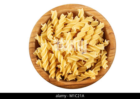 raw pasta in a plate isolated on a white background - Stock Photo