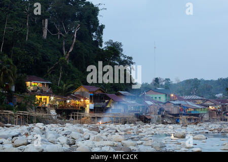 Bukit Lawang, village next to a river, Sumatra, Indonesia. - Stock Photo