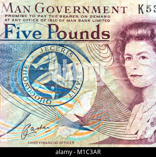 Isle of Man Five 5 Pounds Bank Note - Stock Photo