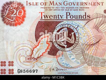 Isle of Man Twenty 20 Pounds Bank Note - Stock Photo