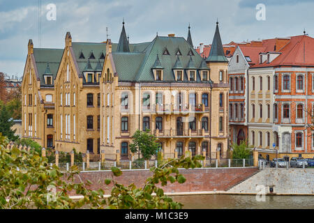 Colorful buildings on Wroclaw old town. Wroclaw is the largest city in western Poland and historical capital of - Stock Photo