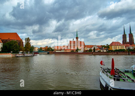 Wroclaw Old Town. Cathedral Island (Ostrow Tumski) is the oldest part of the city at the sunset. Cathedral of St. - Stock Photo