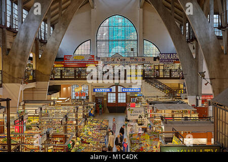 Authentic polish farmer food market in old town, main square with traditional colorful and festive goods in Wroclaw, - Stock Photo
