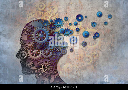 alzheimers memory loss due to Dementia and brain disease with the abstract medical icon of a human head and neurology - Stock Photo