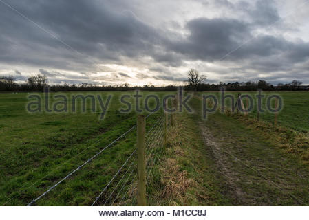 Fordingbridge, Hampshire, 29th January 2018, Avon Valley footpath through Burgate to the New Forest, Fordingbridge, - Stock Photo